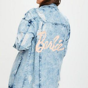 Missguided Barbie Oversized Acid Wash Denim Jacket